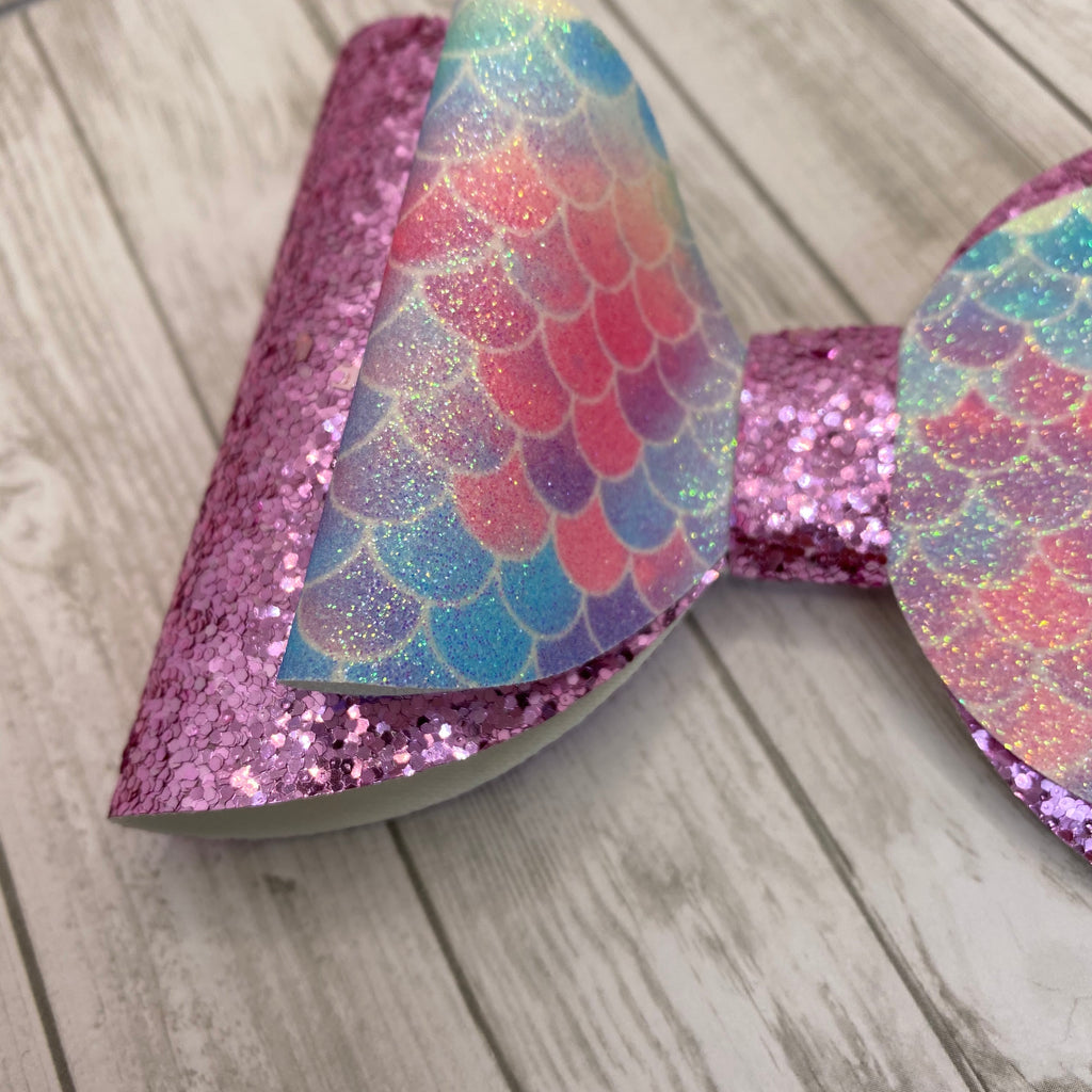 "Pink Glitter Mermaid Tail 6"" Hair Bow"