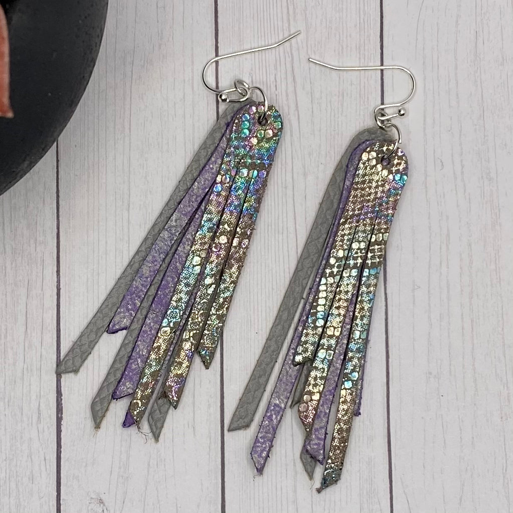 "2.75"" Genuine Leather Gray and Purple Animal Fringe Earrings"