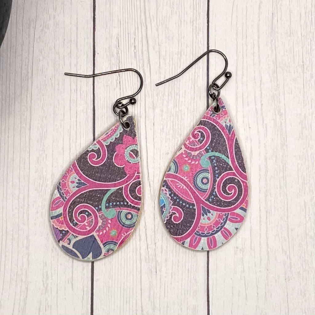Pink and Blue Paisley Wood Earrings