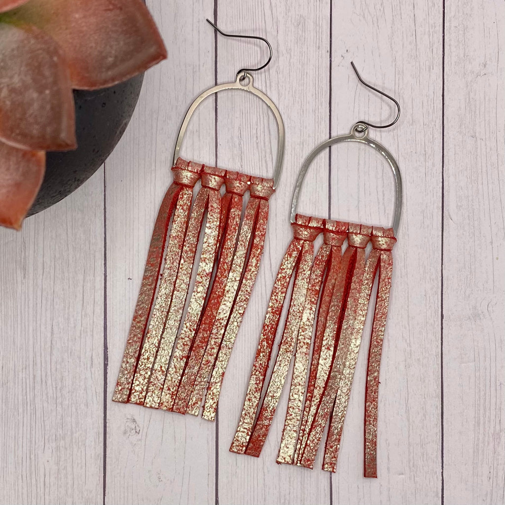 Red Leather Fringe Arched Hoop Earrings
