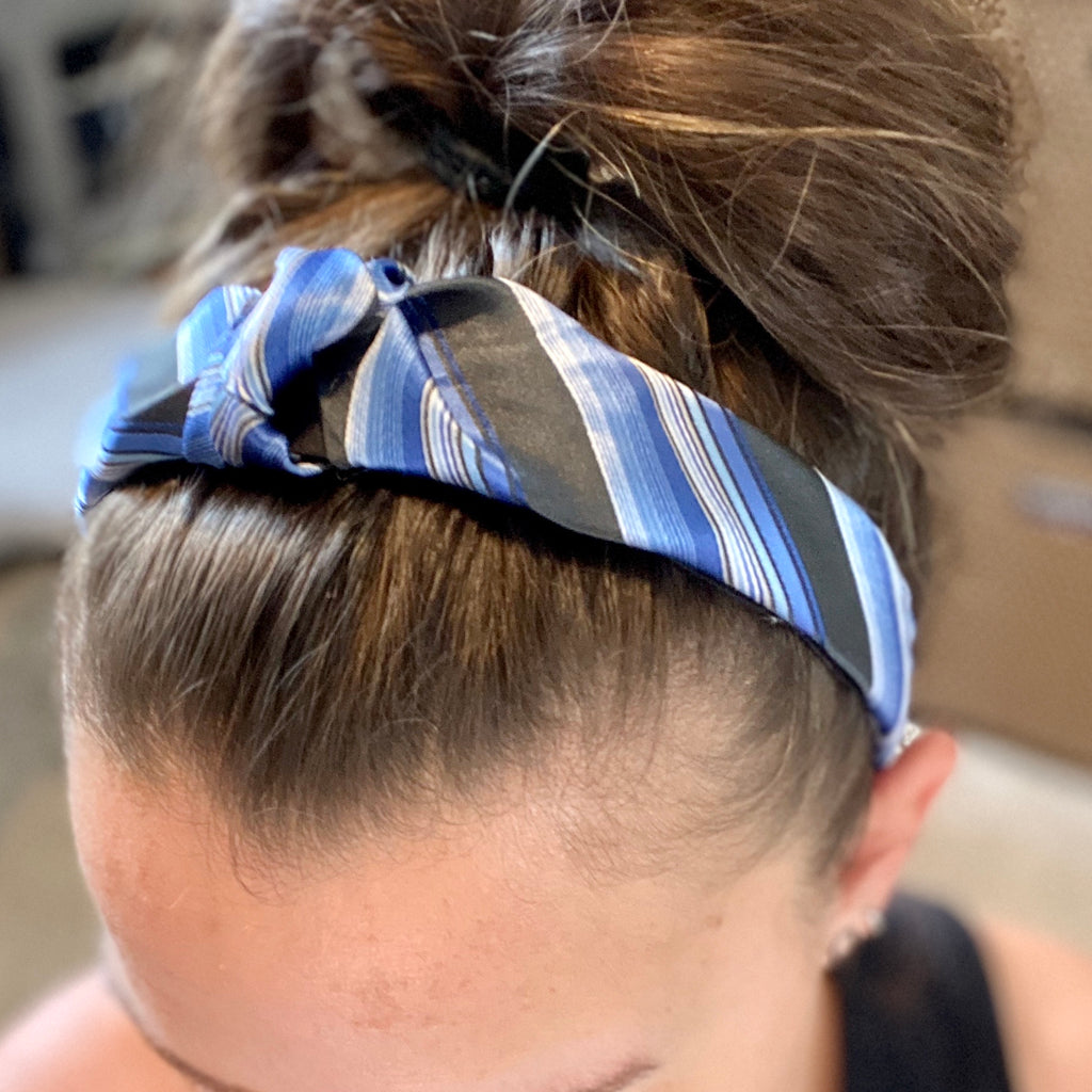 Blue and Black Silk Upcycled headband