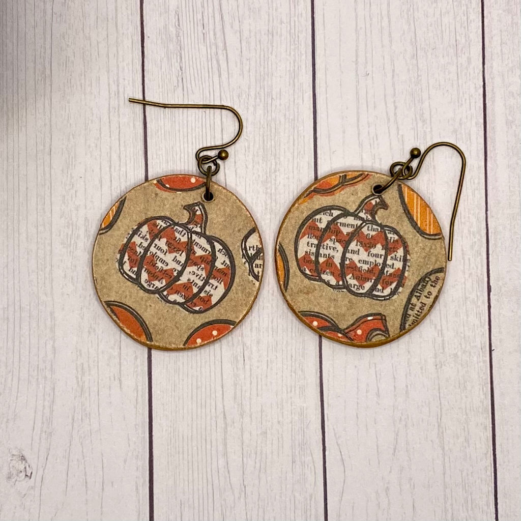 Round Pumpkin Wood Earrings