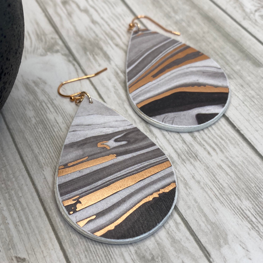 Handmade Black and Rose Gold Marble Wood Earrings