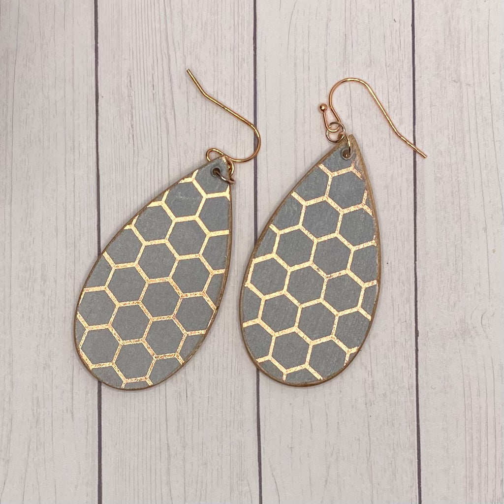 Dusty Purple with Rose Gold Honeycomb pattern Wood Earrings