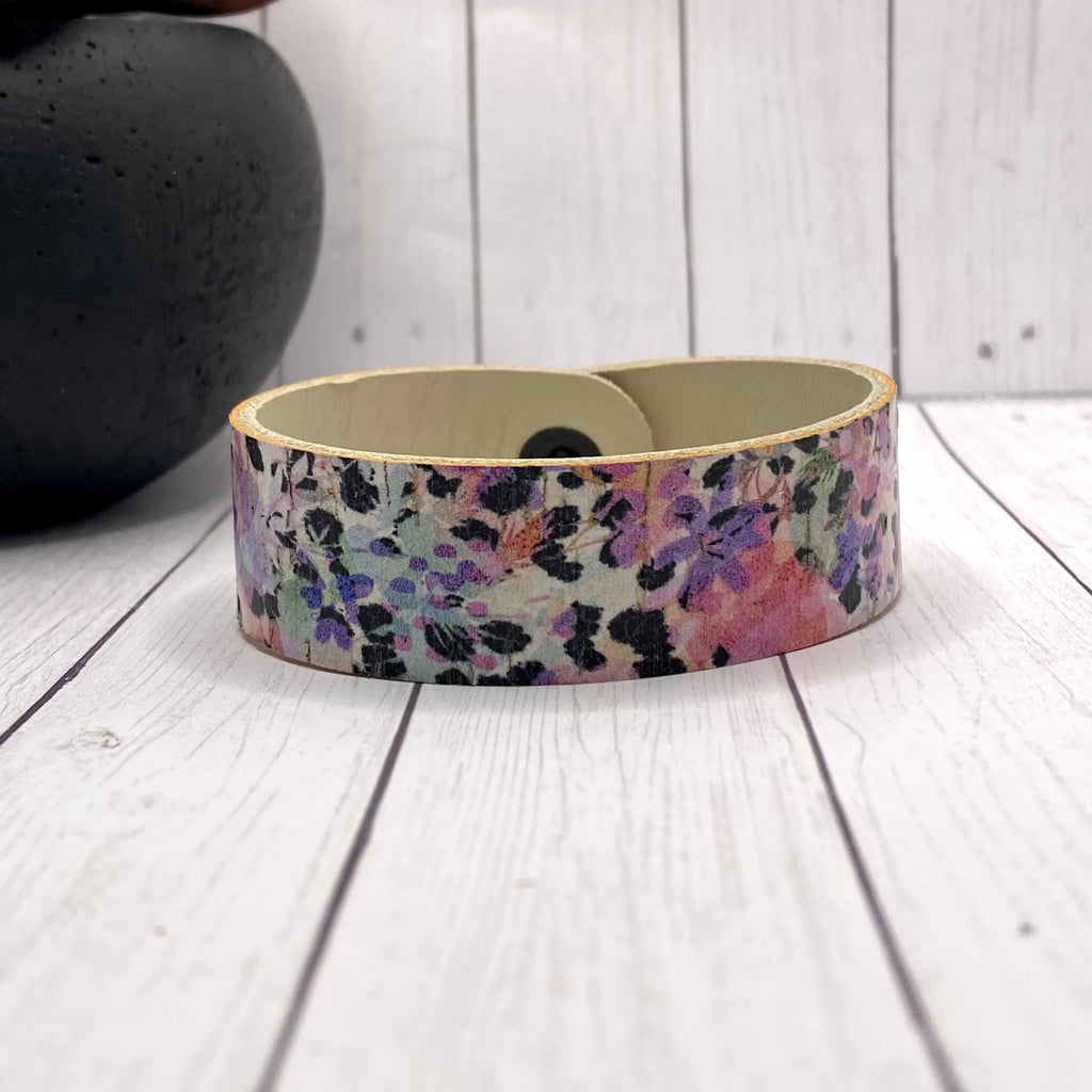Leather and Cork Floral Stripe Bracelet
