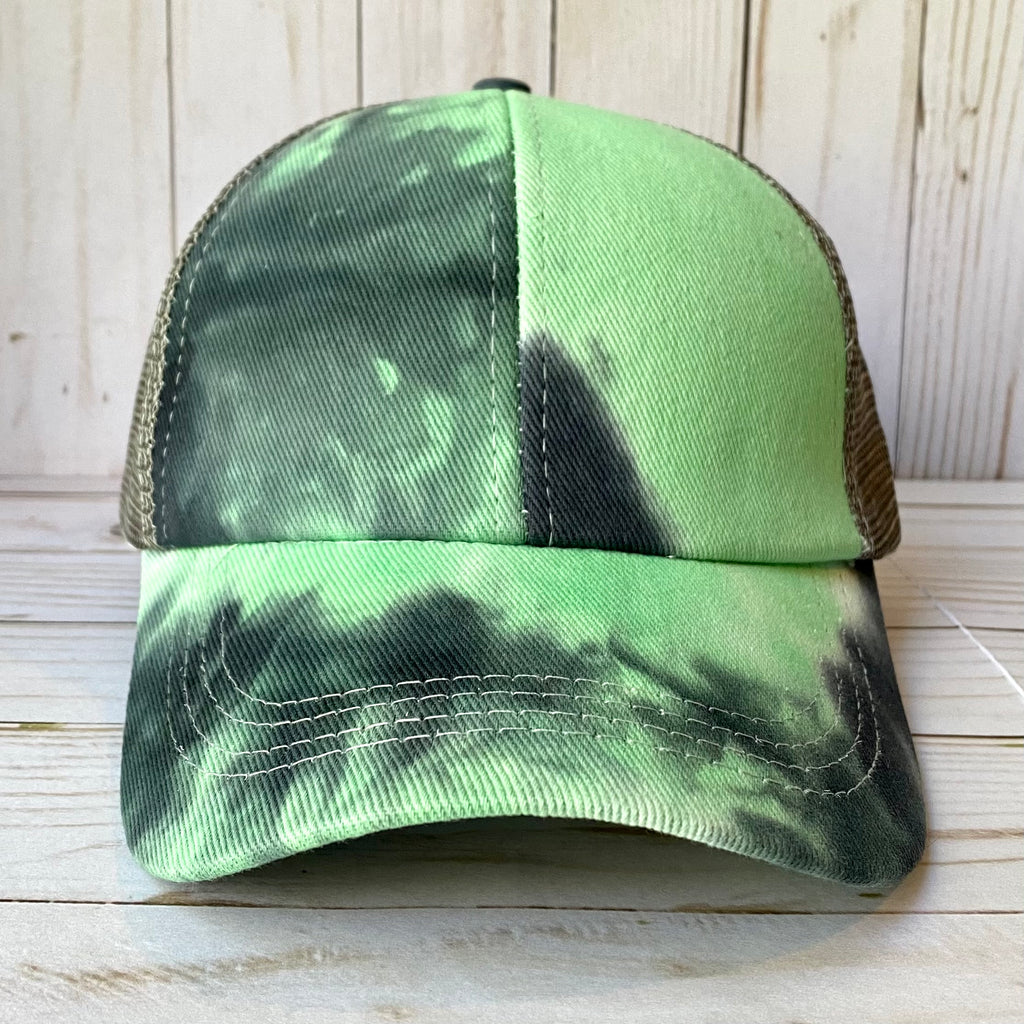 Aqua and Charcoal Tie Dye Distressed Criss Cross Ponytail Hat