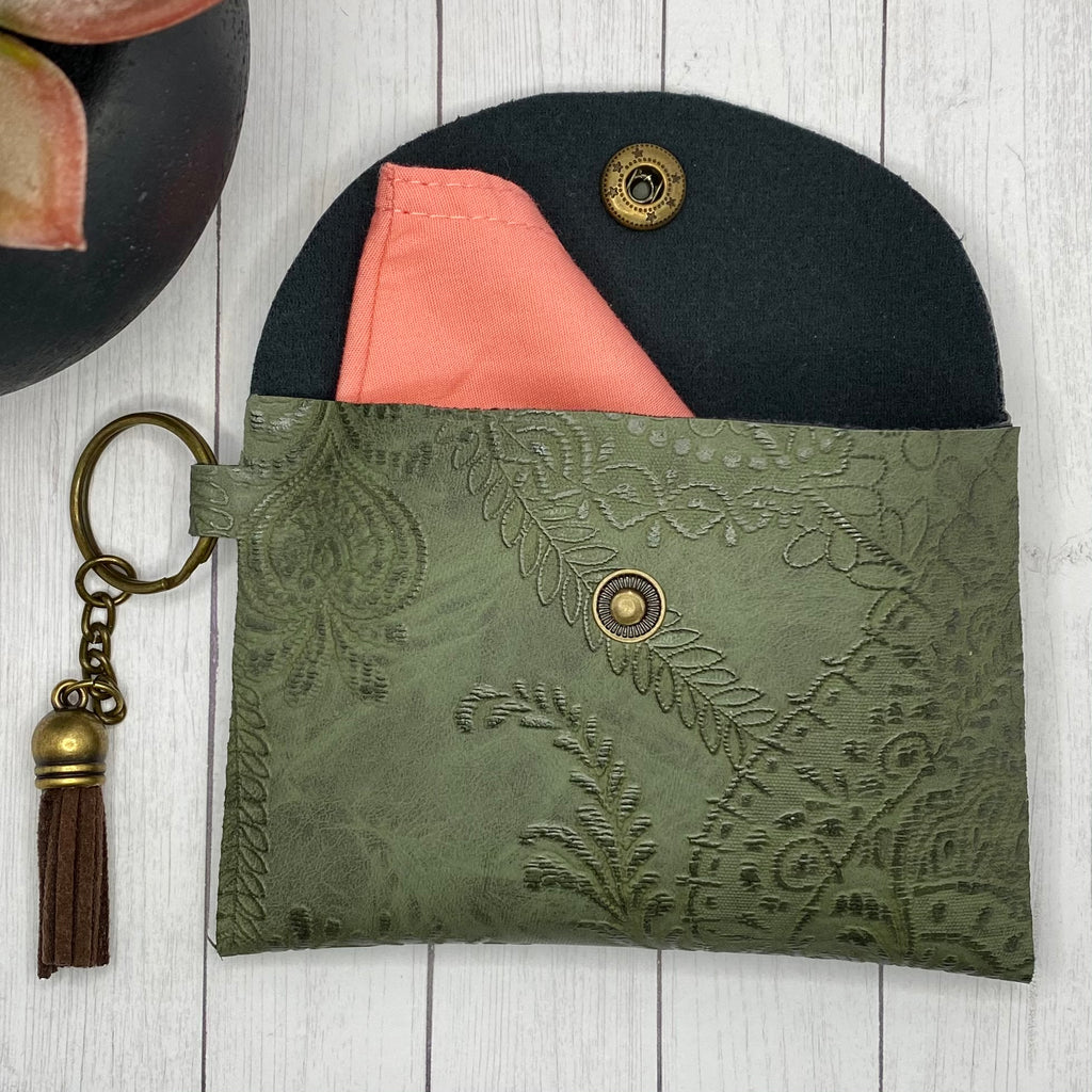 Olive Green  Embroidered ID Wallet Mask Holder