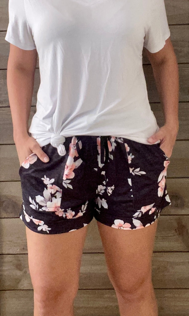 Charcoal and Pink Floral Shorts