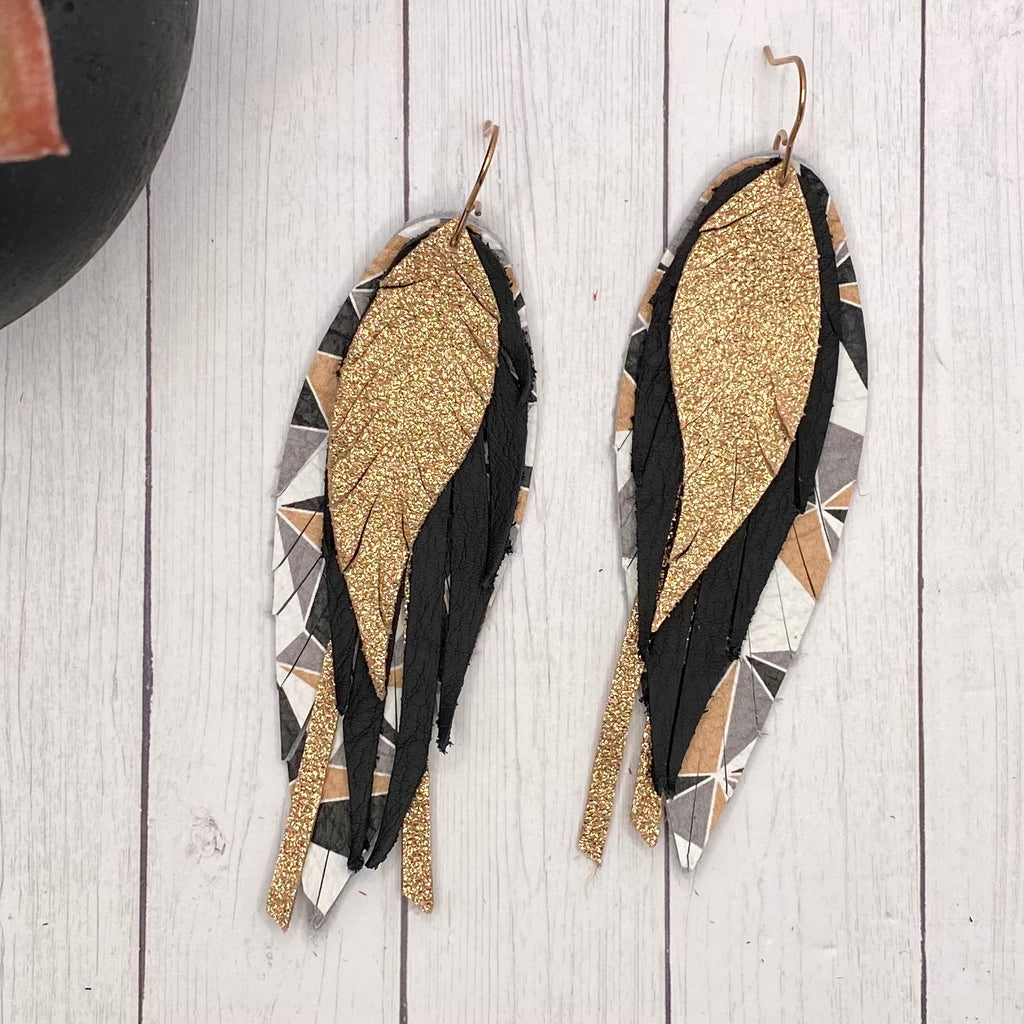 Black and Rose Gold Geometric Genuine Leather Feather Earrings