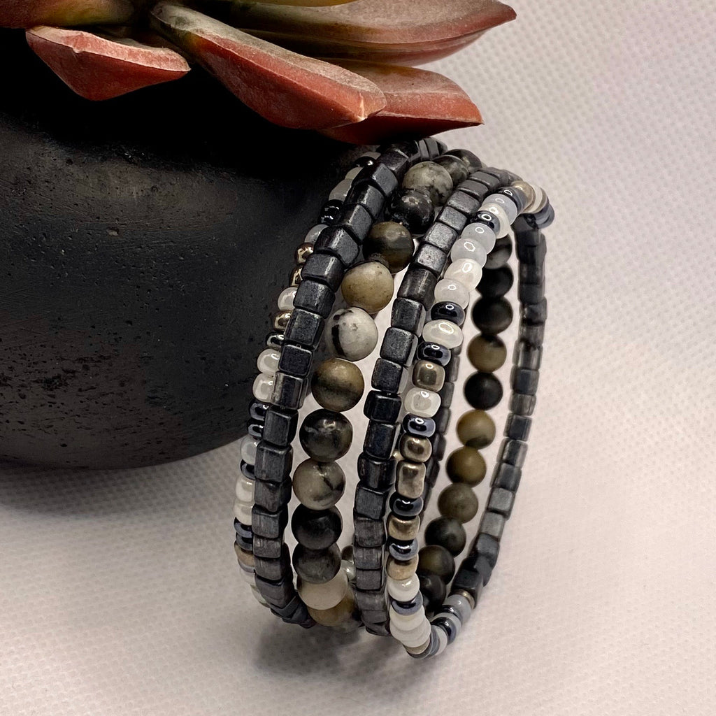 Handmade Black Beaded Wrap Bracelet