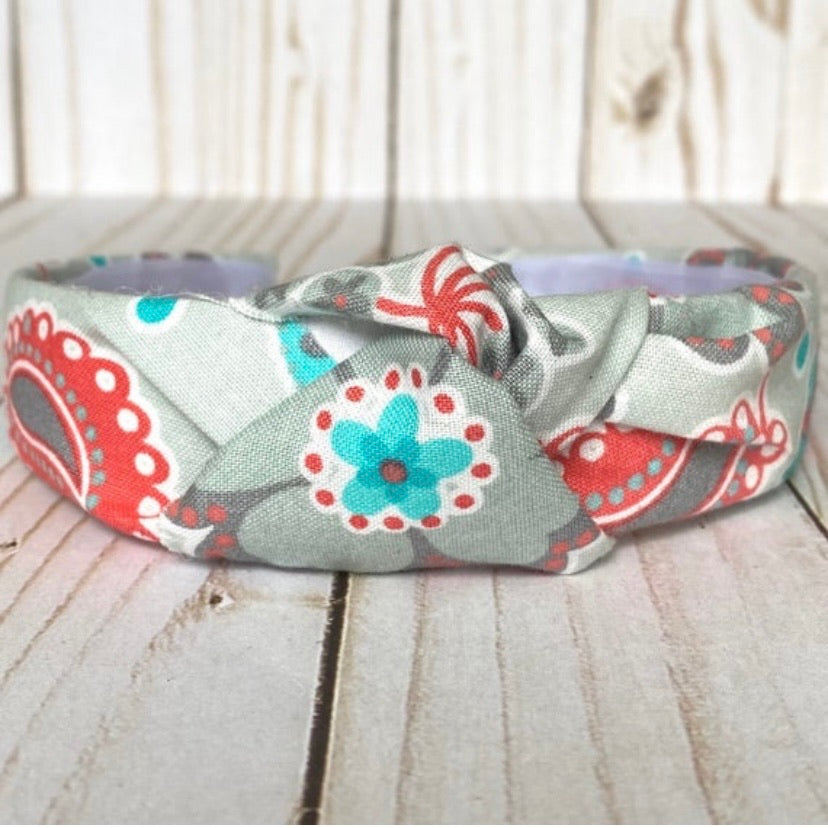 Gray Floral Top Knot Headband
