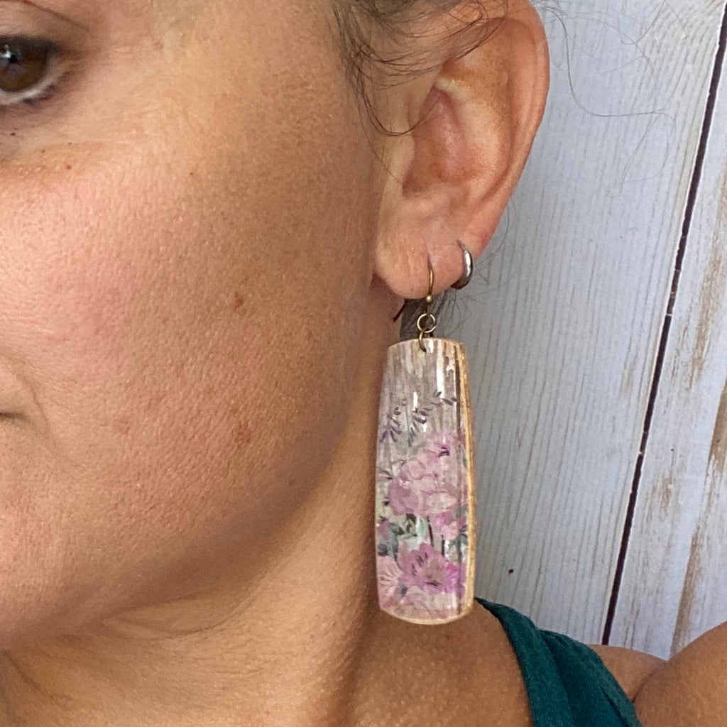 Distressed wood and floral pattern Wood Rectangle earrings