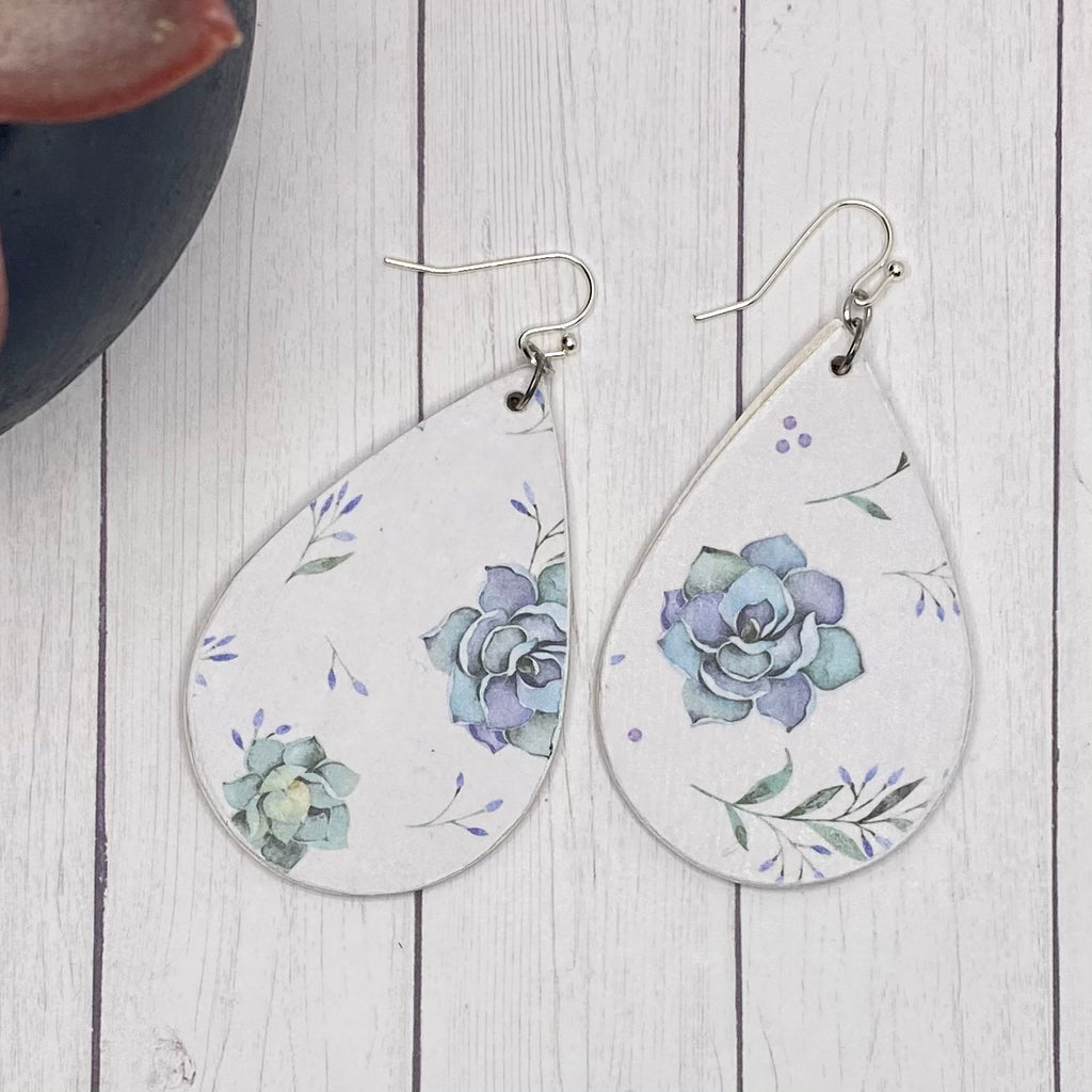 Blue Succulent Wood Earrings