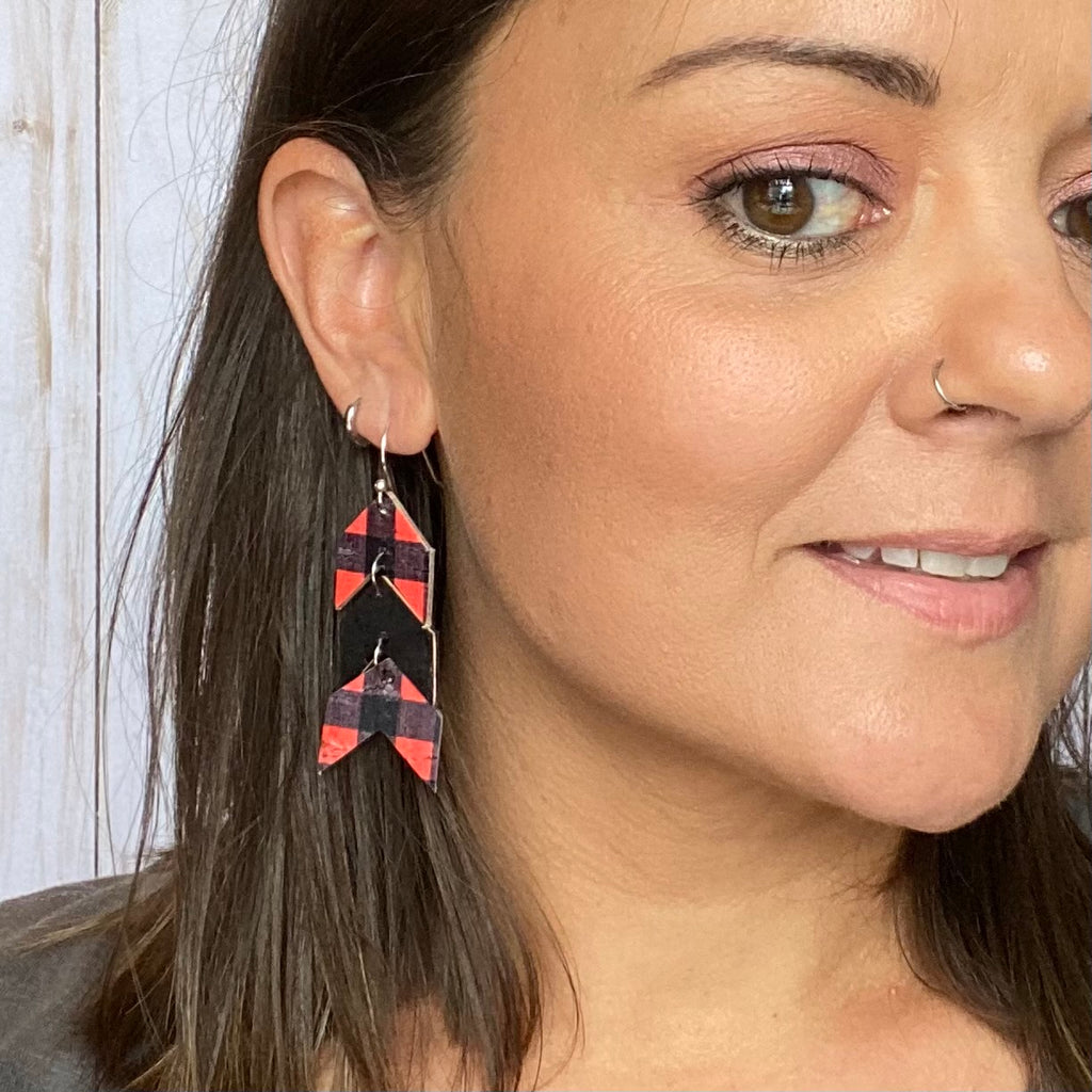 Leather Cork Red Buffalo Plaid Chevron Earrings