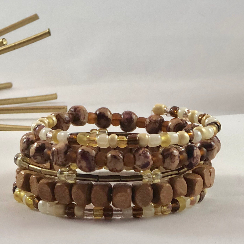 Handmade Natural Wood Bead Wrap Bracelet - the-a-to-z-boutique