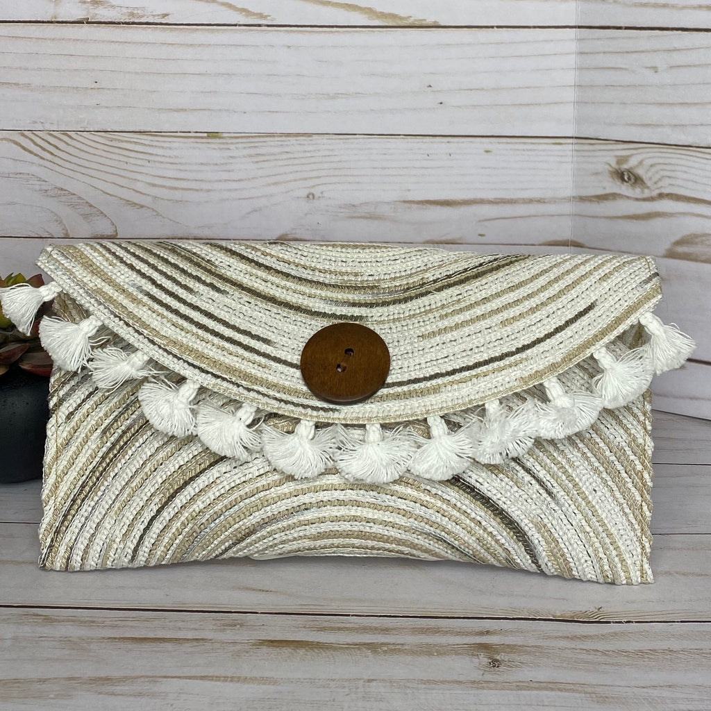 Handmade Tan and White Tassel Straw Clutch