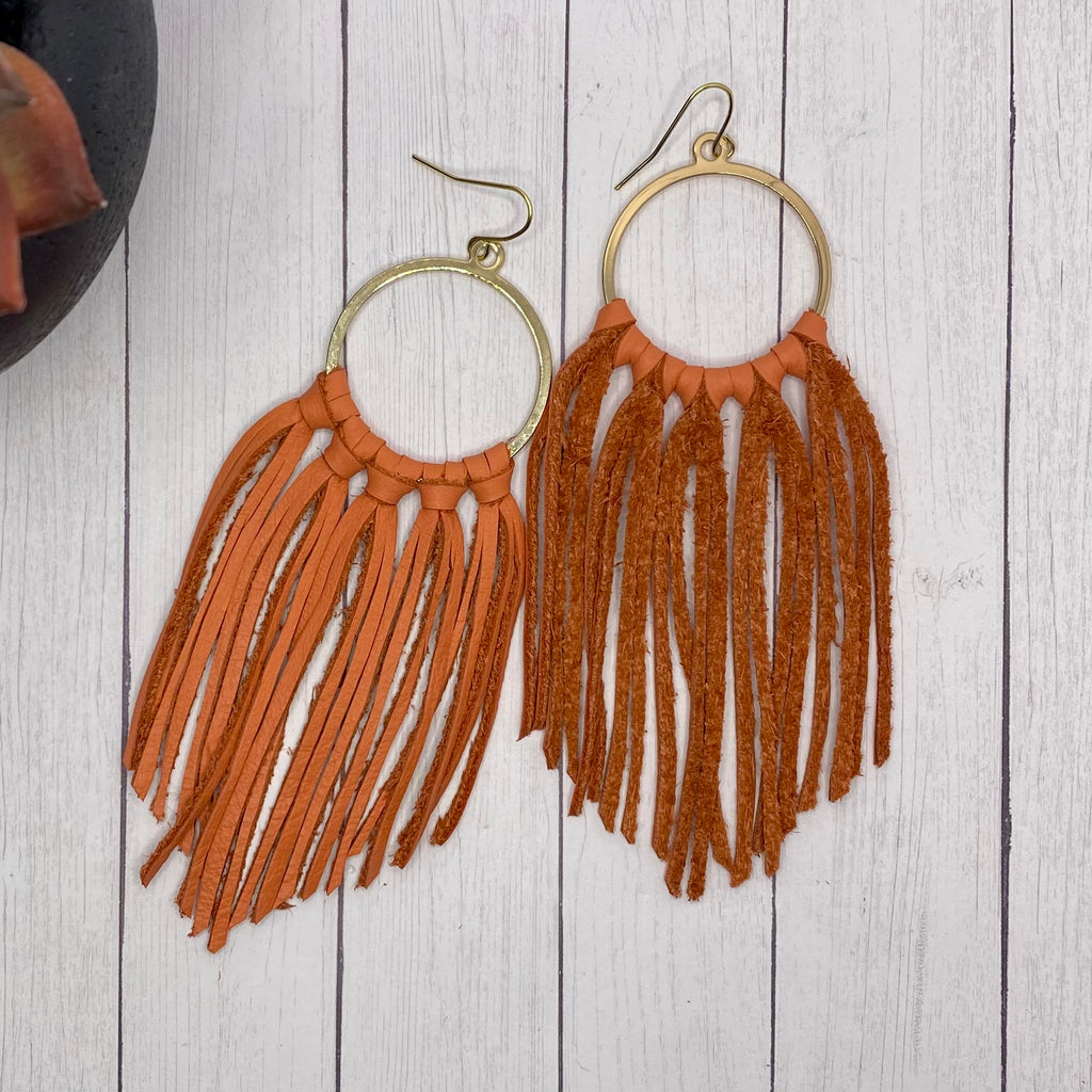 Orange Leather Fringe Hoop Earrings
