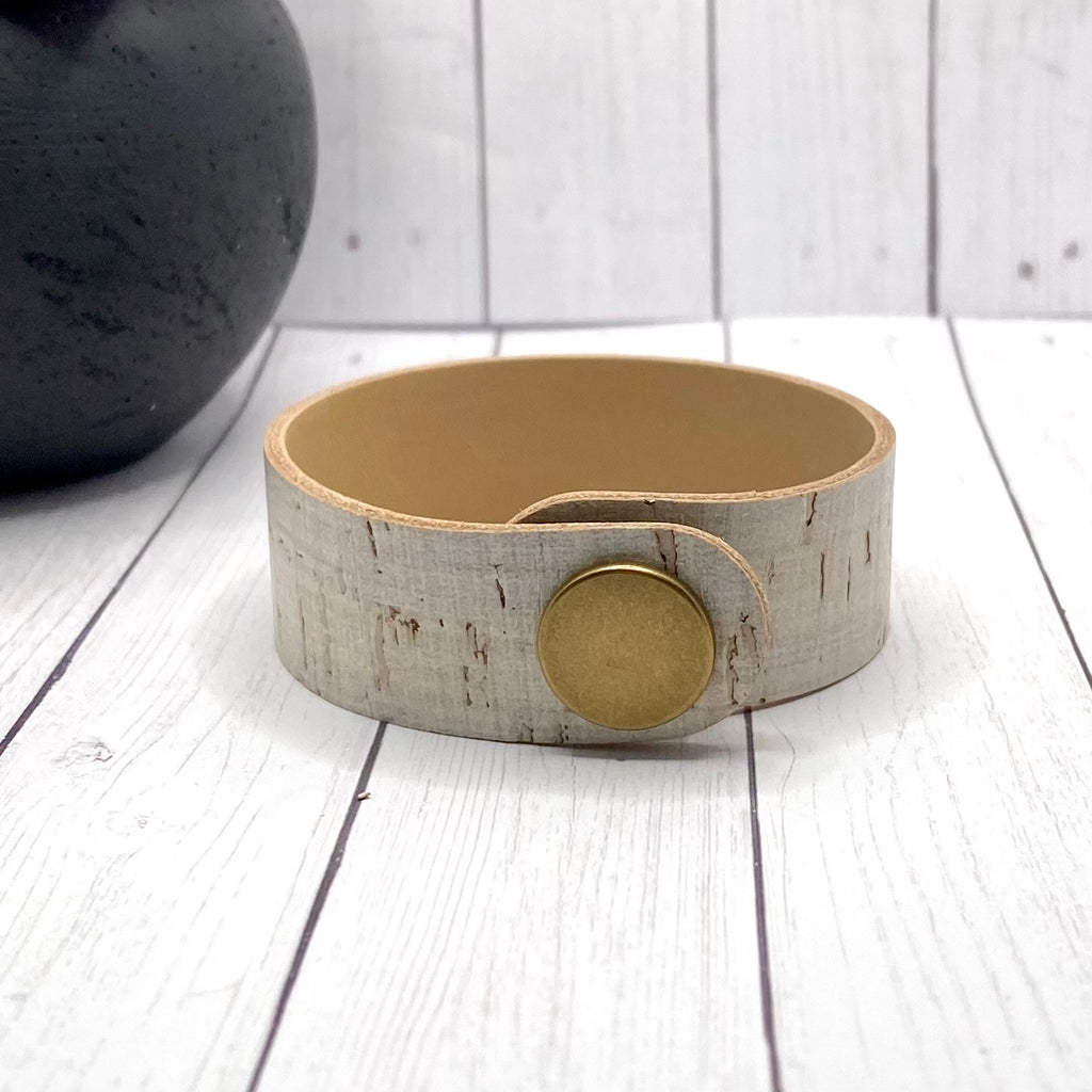 Off White Leather and Cork Bracelet