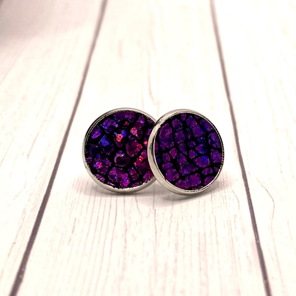 Pink and Black Crackle Leather Stud Earrings