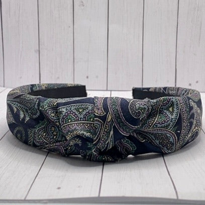 Blue Paisley Silk Upcycled headband