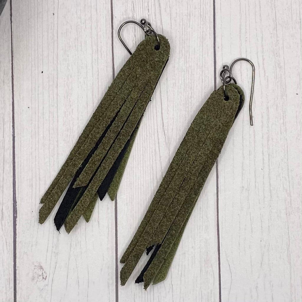 "2.75"" Genuine Leather Camo Fringe Earrings"