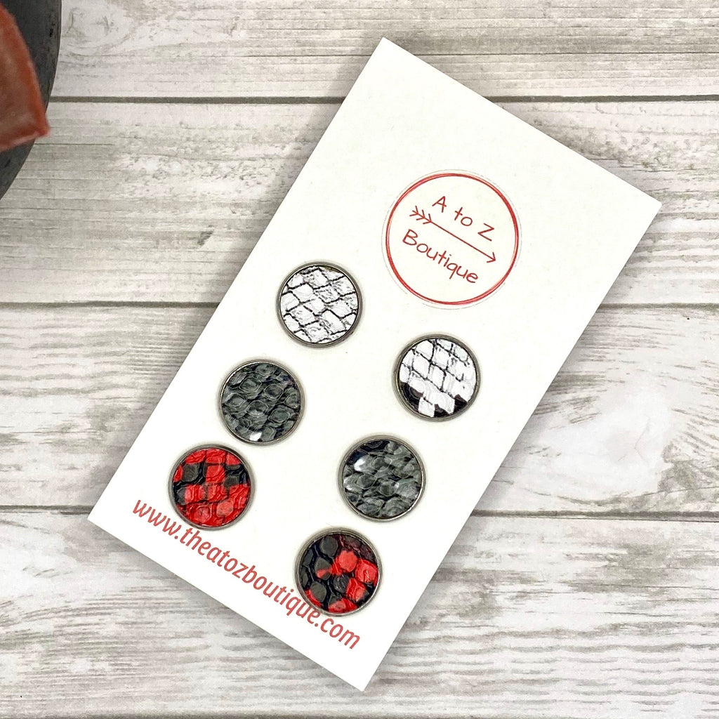 Snakeskin Stud Earring Set - Red