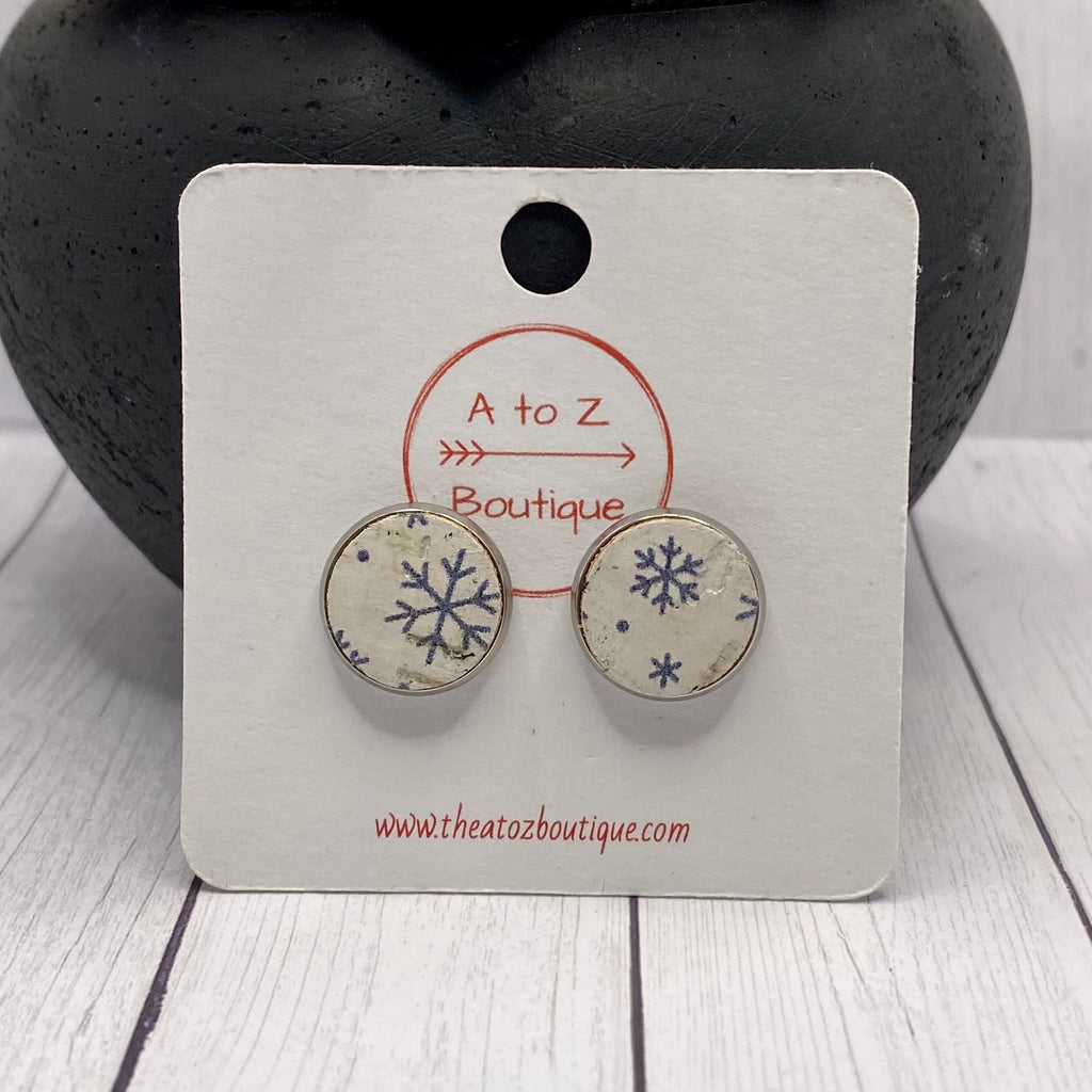 Snowflake Cork and Leather Stud Earrings