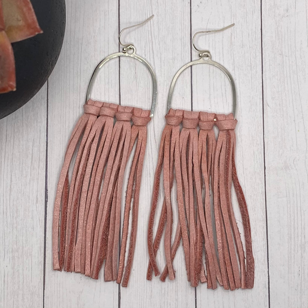 Pink Leather Fringe Arched Hoop Earrings