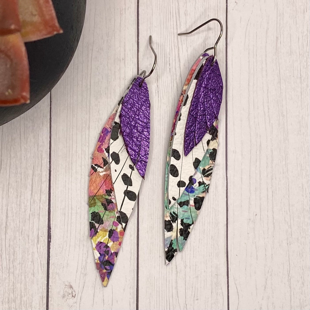 Purple Floral Leather Wing Earrings