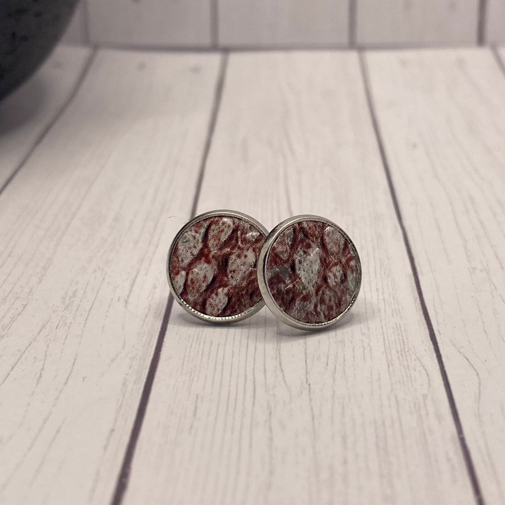Burgundy and Silver Stud Earrings