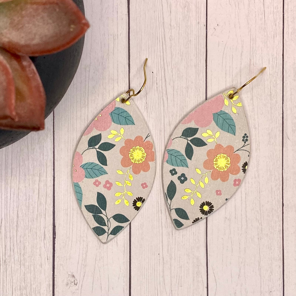 Pink a d Gold Floral Leaf Wood Earrings