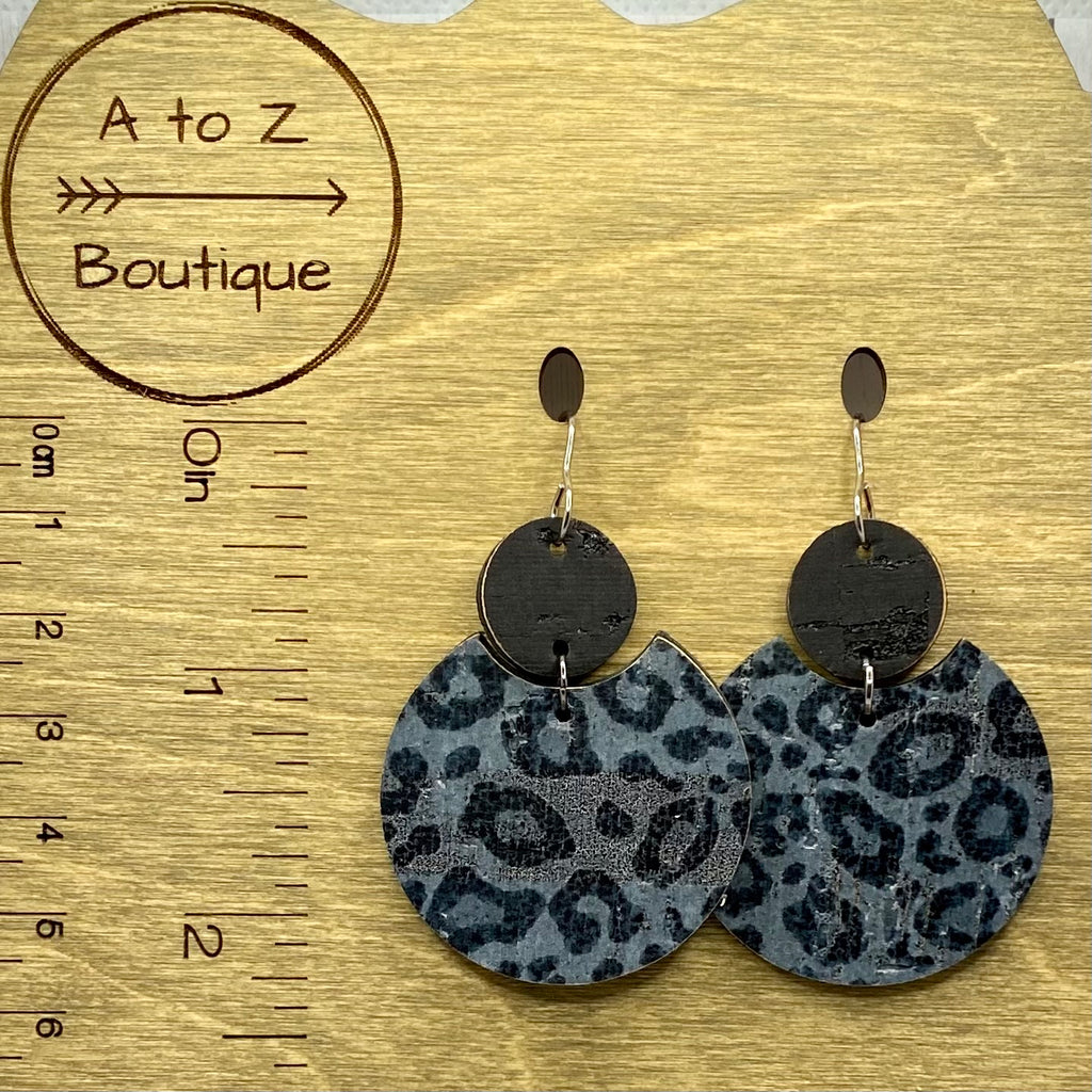 Black and Gray Animal Print Leather Earrings