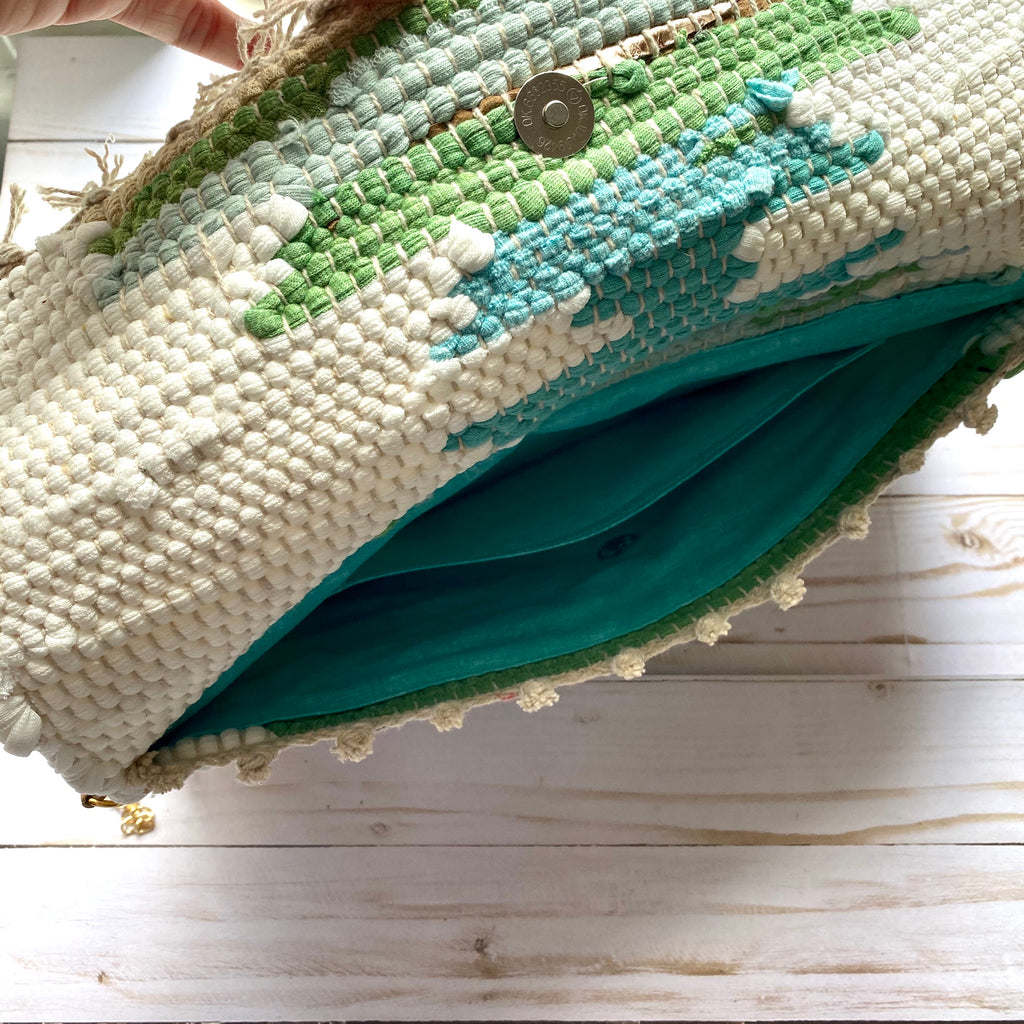 Off White and Green Woven Clutch