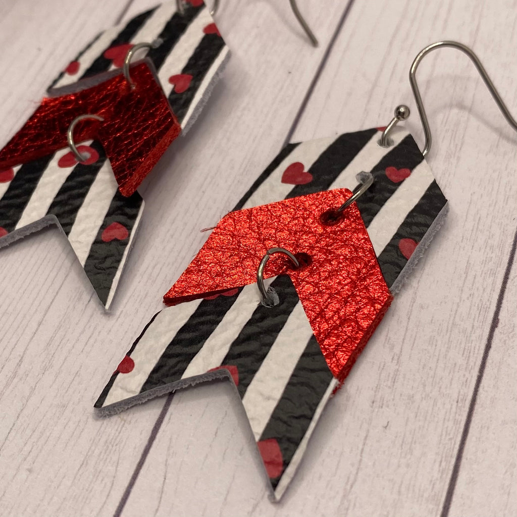 Leather Black White and Red Heart Chevron Earrings