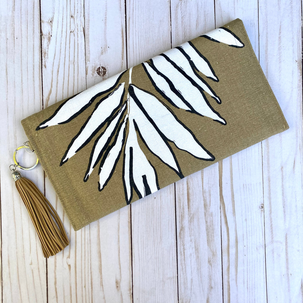 Tan and White Leaf Clutch Purse with Tassel