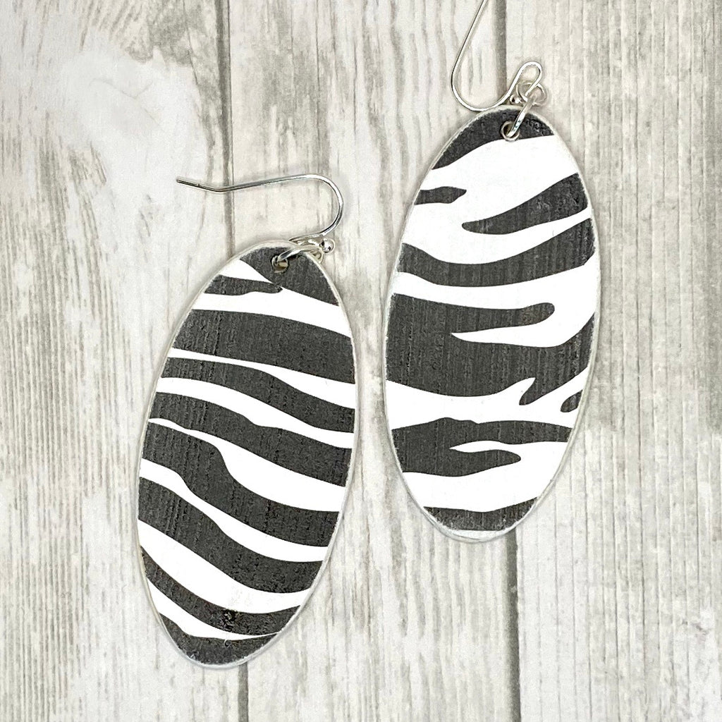 Zebra Striped Wood Earrings