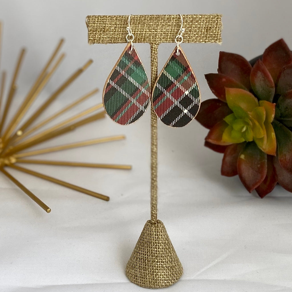 Christmas Plaid Small Wood Earrings