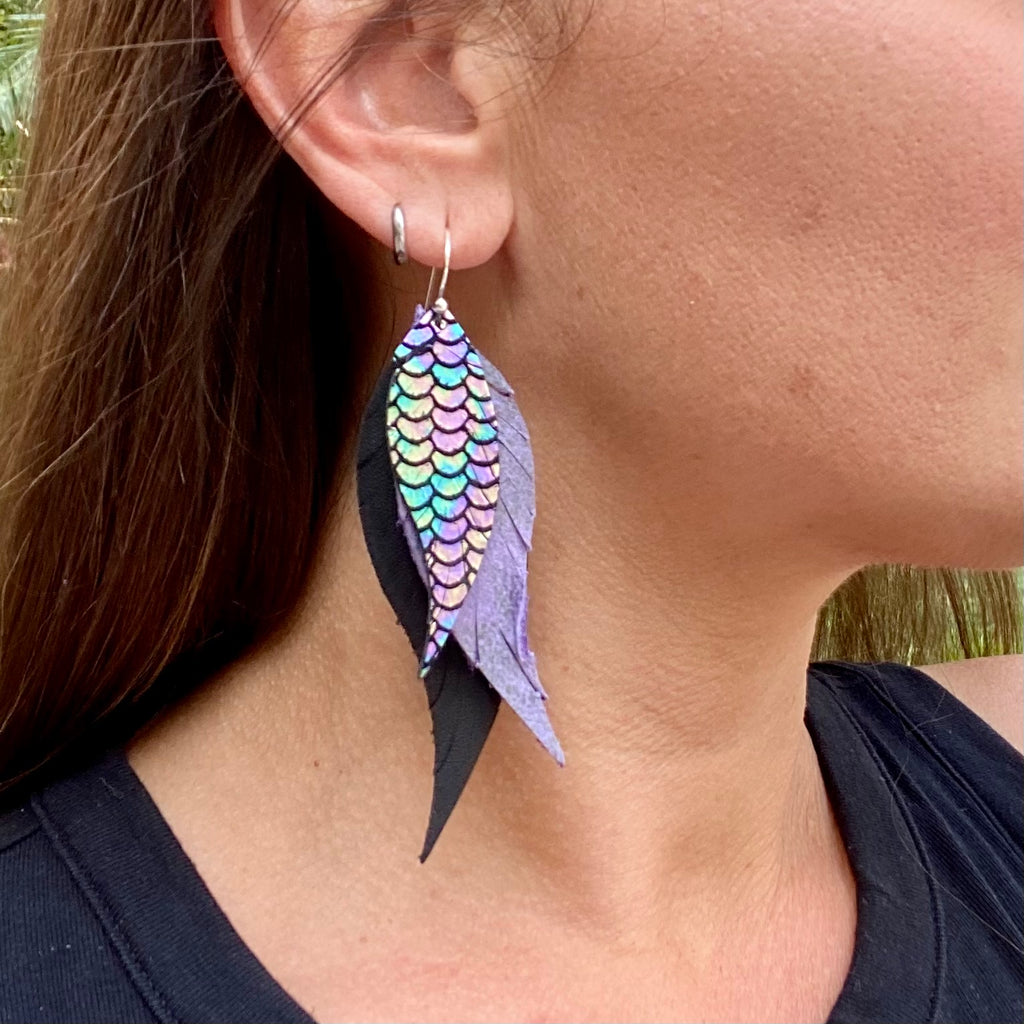 Black and Purple Scale Leather Feather Earrings