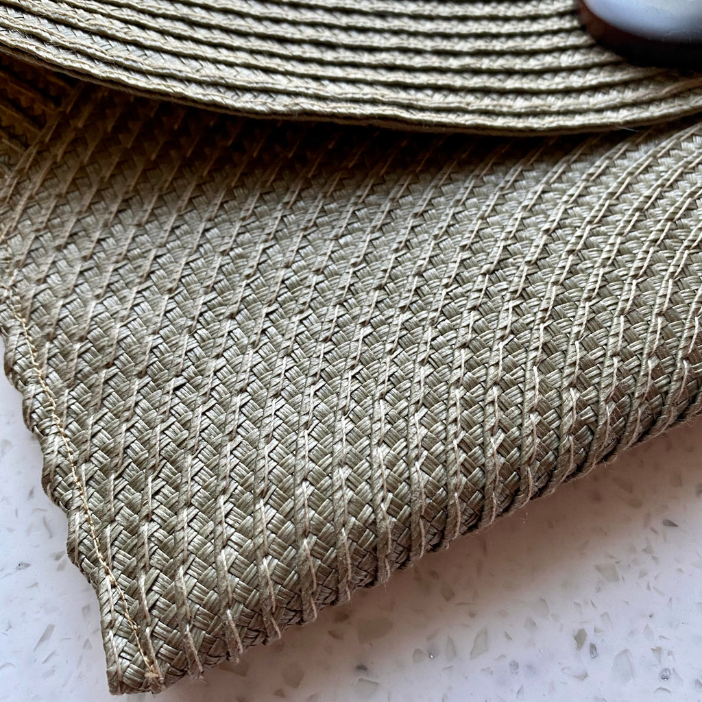 Handmade Tan Straw Clutch