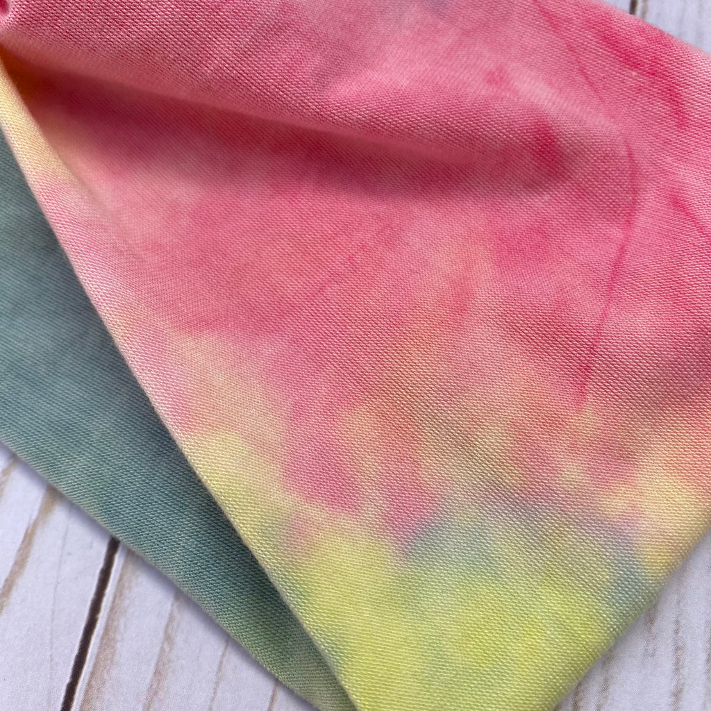 Muted Rainbow Tie Dye Knotted Head Wrap
