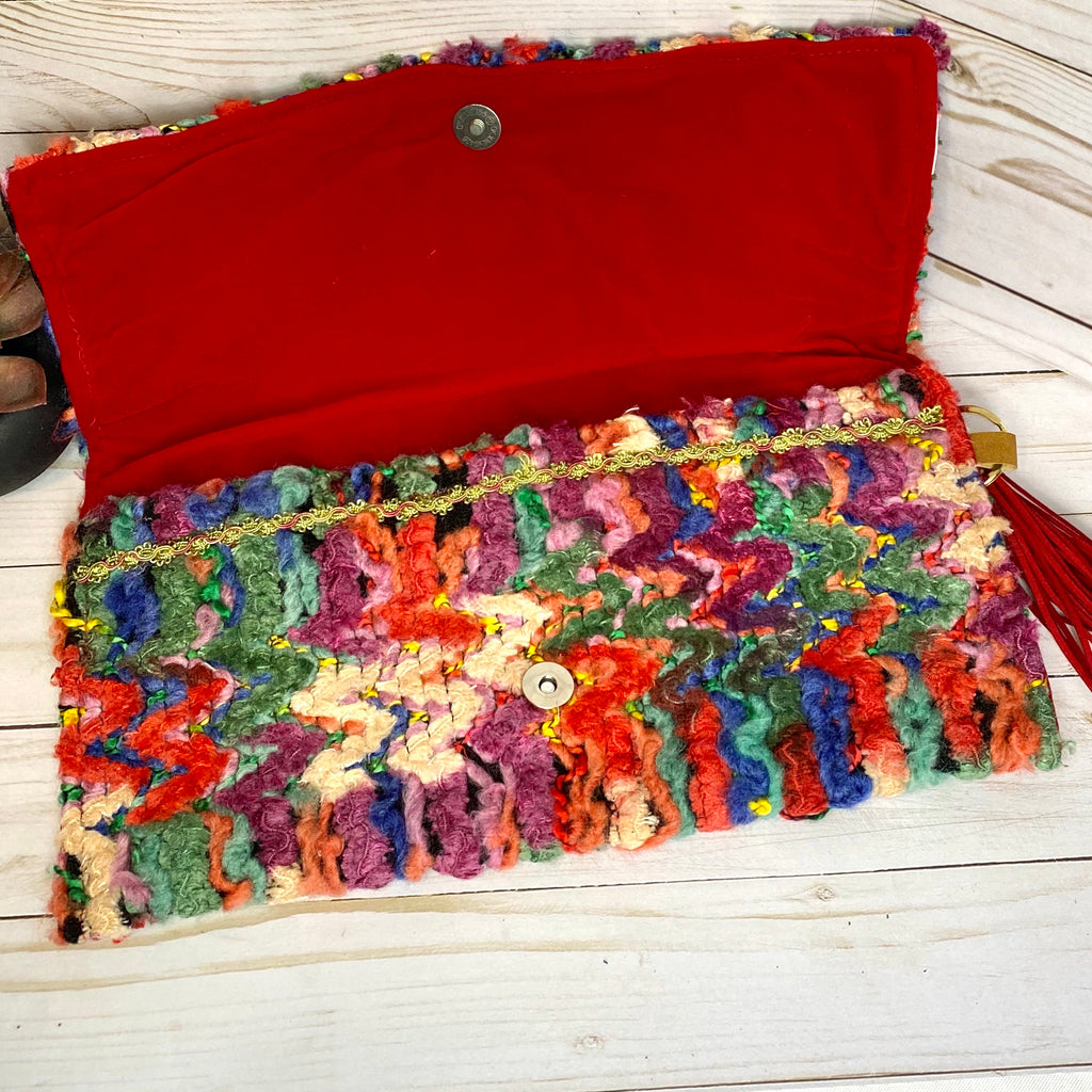 Red Multicolored Handmade Woven Rag Purse