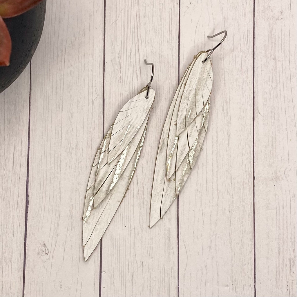 White and Silver Wing Earrings