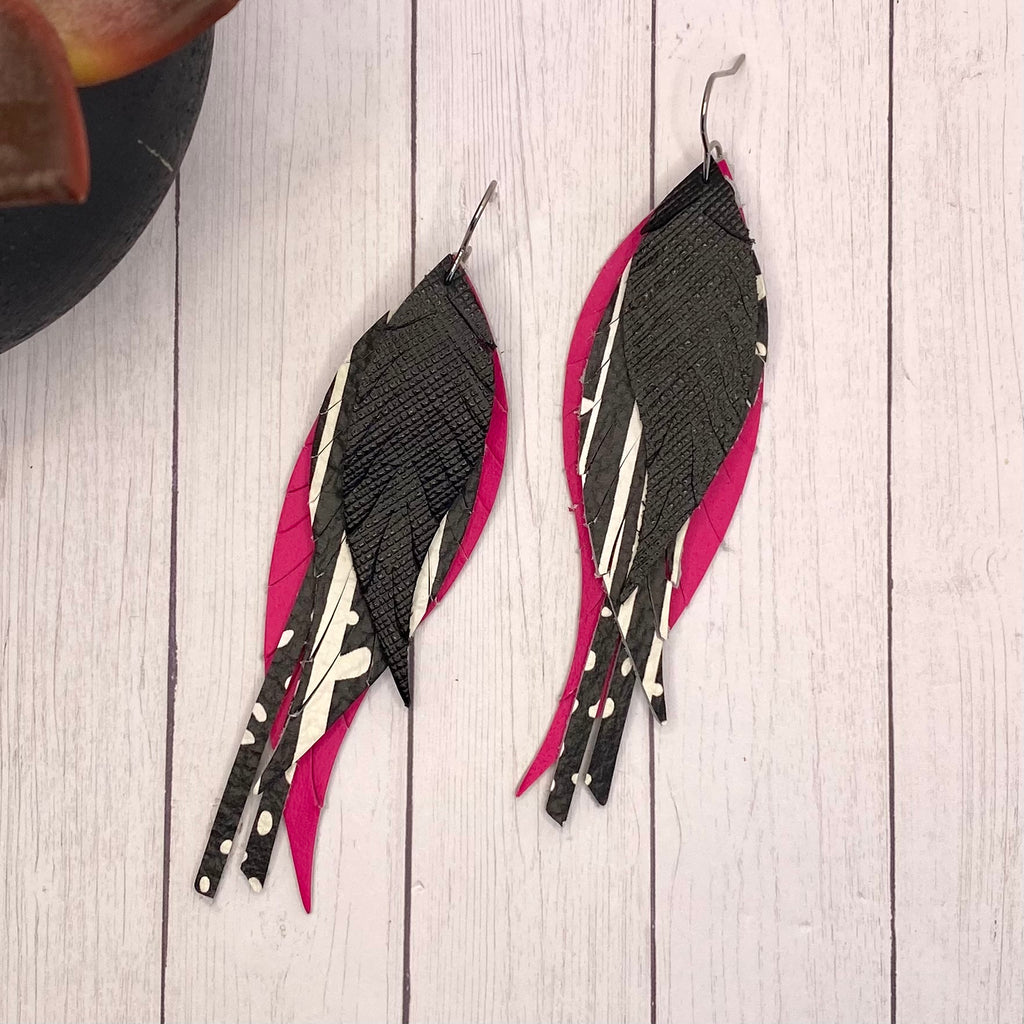Black and Hot Pink Leather Feather Earrings