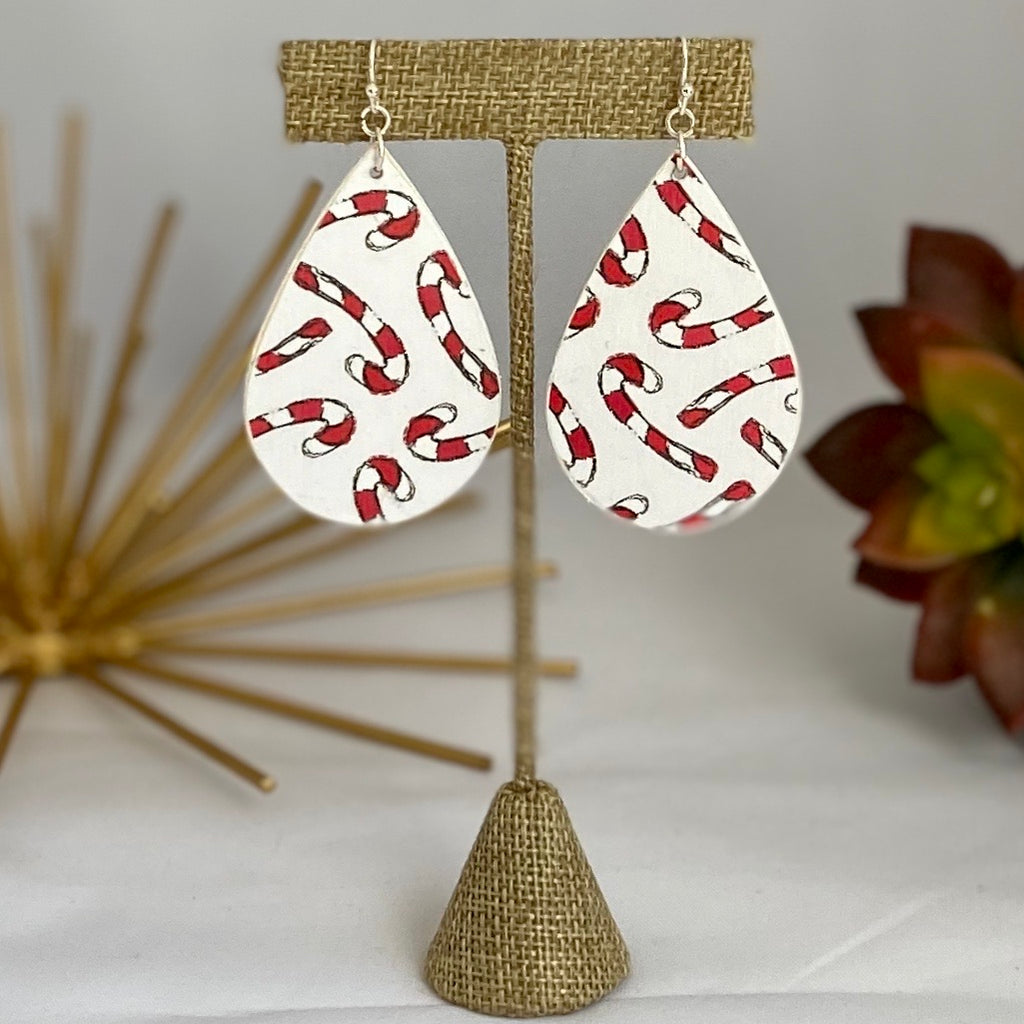 Candy Cane Wood Earrings