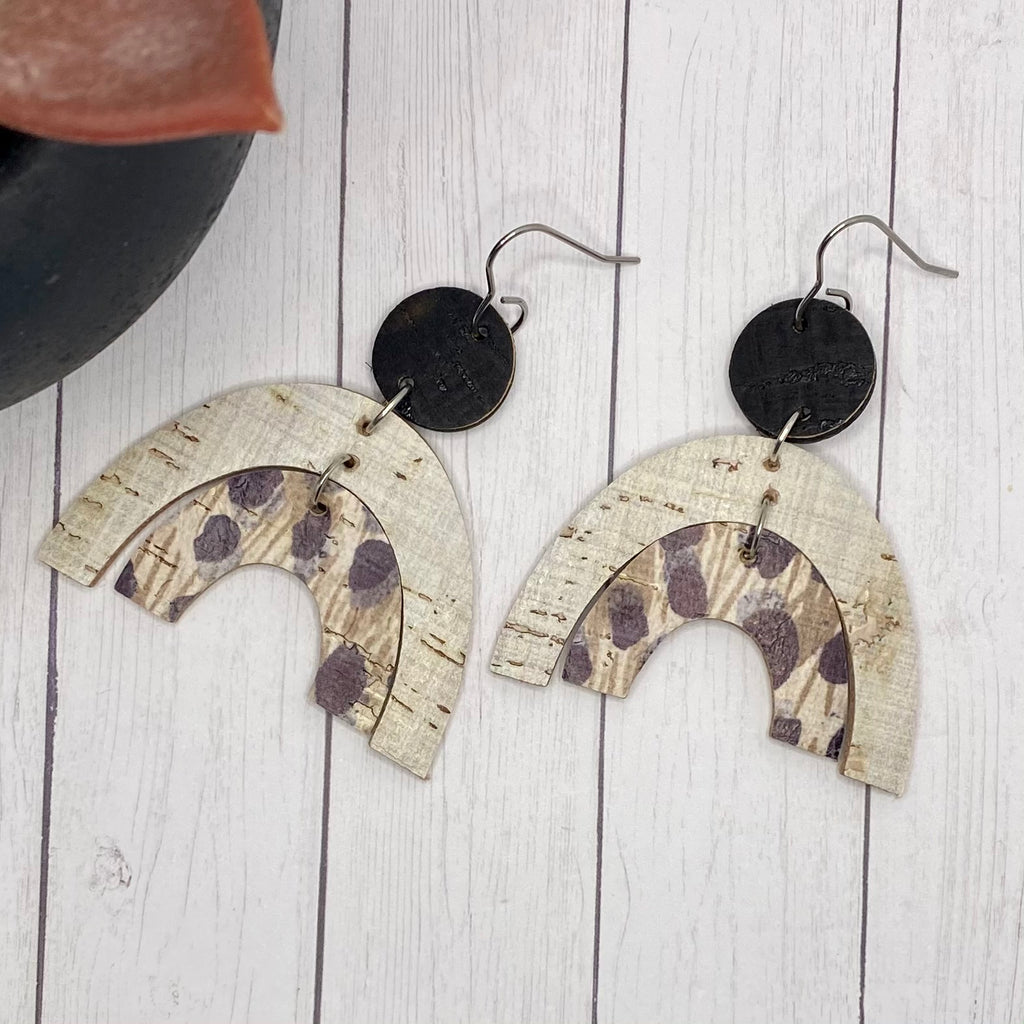 Animal Print Neutral Leather and Cork Double Arch Earrings