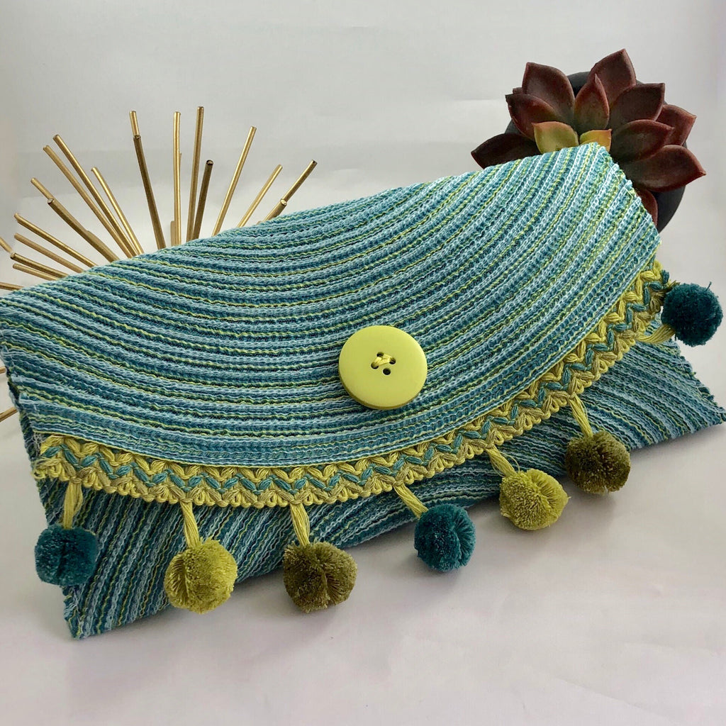 Blue and Green Woven Clutch