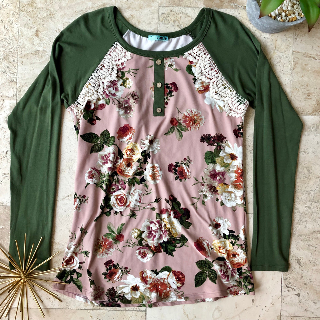 Mauve and Olive Floral Top - the-a-to-z-boutique