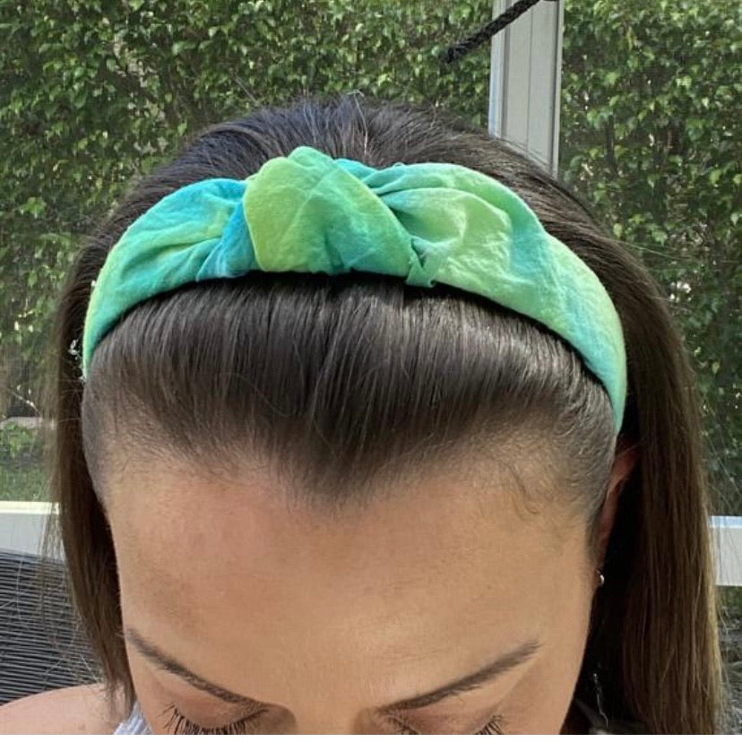 Green tie dye headbands