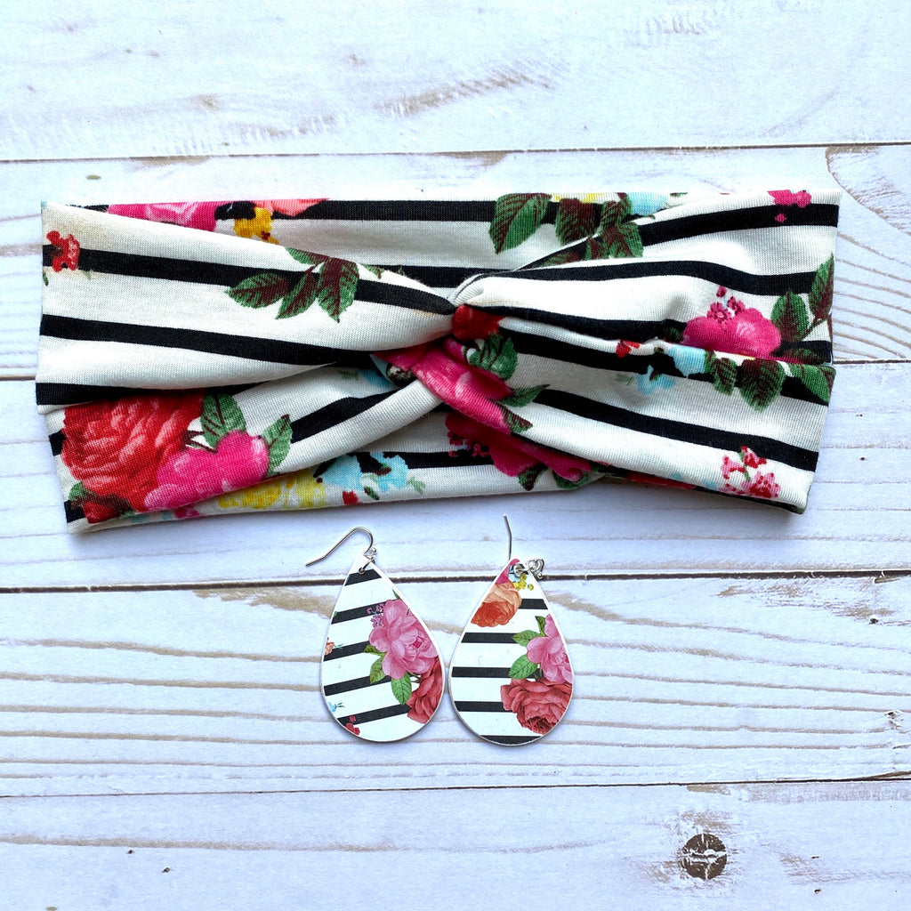 Floral and Black Striped Knotted Head Wrap