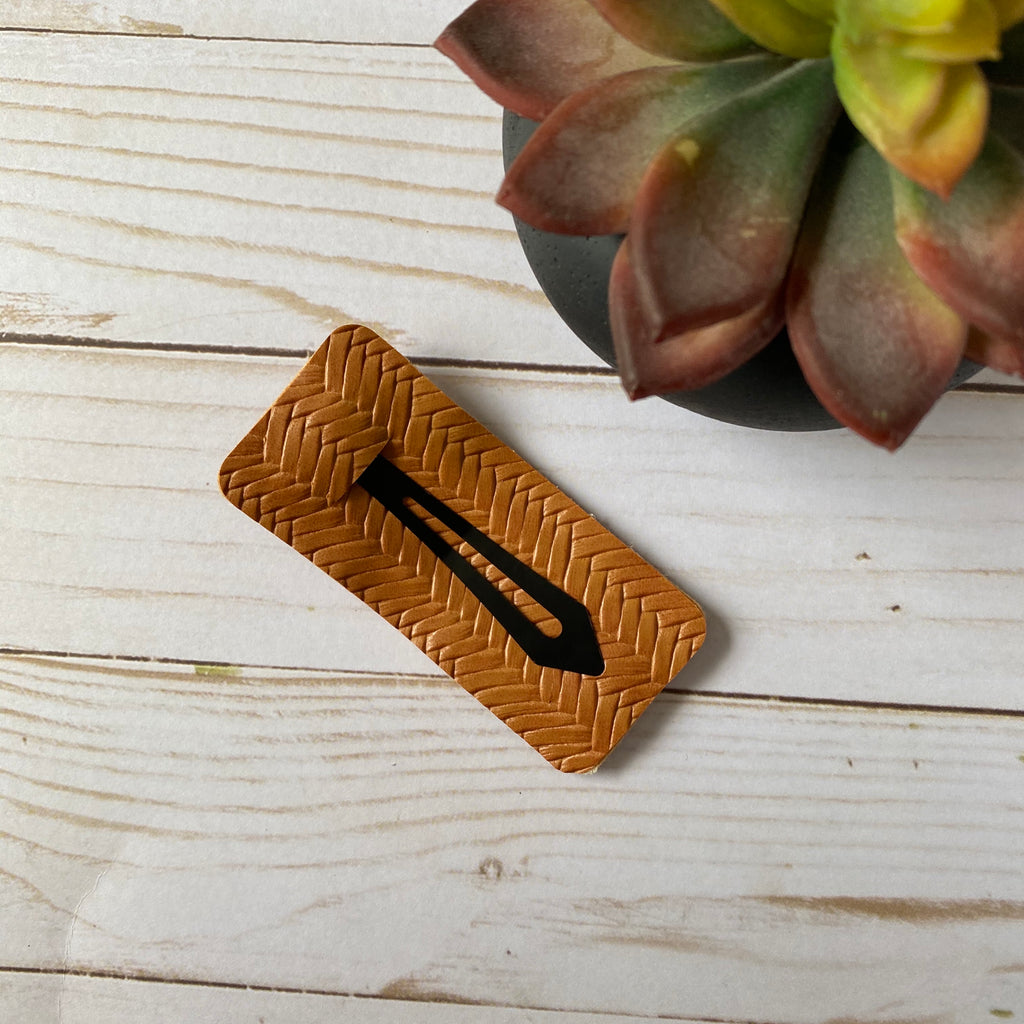 Tan Faux Leather Hair Clip
